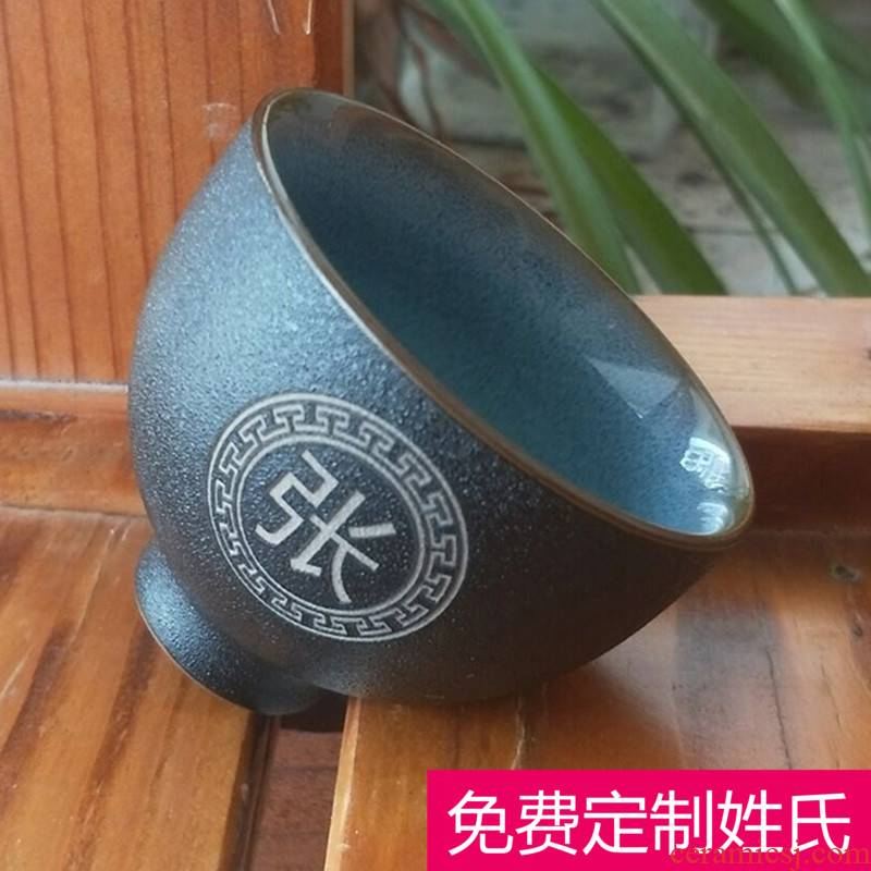 The New sample tea cup hot personal prevention kung fu master cup single cup suit small ceramic tea bowl lettering surname