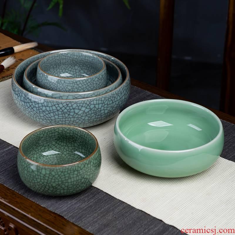 Jingdezhen ceramics celadon tea to wash to the writing brush washer retro ice crack water to wash large ashtray pot water lily pot cylinder