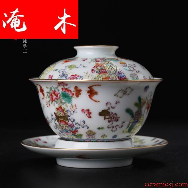 Submerged wood level pastel paint antique grain tureen jingdezhen manual all three bowl tea hand - made