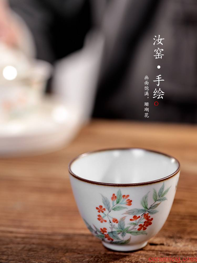 Hand - made master cup kung fu tea cups jingdezhen sample tea cup cup pure manual your up tea herbal tea light in use