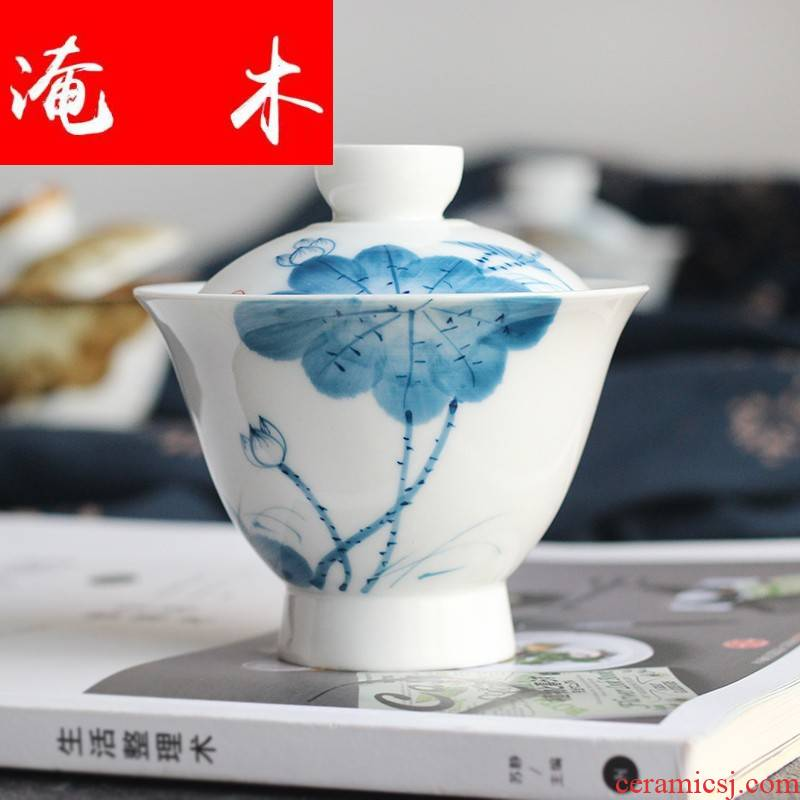 Submerged wood jingdezhen hand - made tureen large three cups to kung fu tea tea set blue and white porcelain cup bowl ceramics