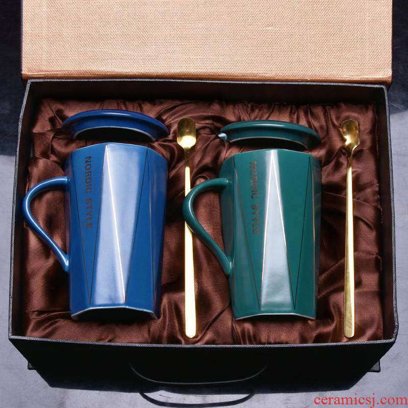 Household water mark cup with cover spoon gift box creative trend couples glass printing move ceramic coffee cups