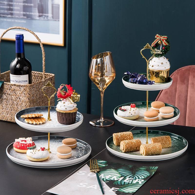 Nordic ceramic stone cake frame round home sitting room candy seeds snacks dessert multi - layer cake pan