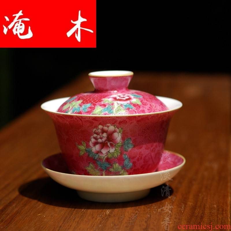 Submerged wood all hand delicate pastel grilled peony flowers tea tureen jingdezhen manual steak boutique tao tao