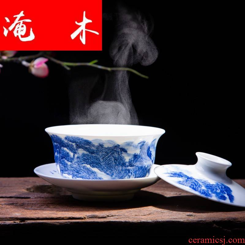 Submerged wood tureen ceramic cups large only three to use manual kung fu tea bowl of pure hand - made of blue and white porcelain of jingdezhen