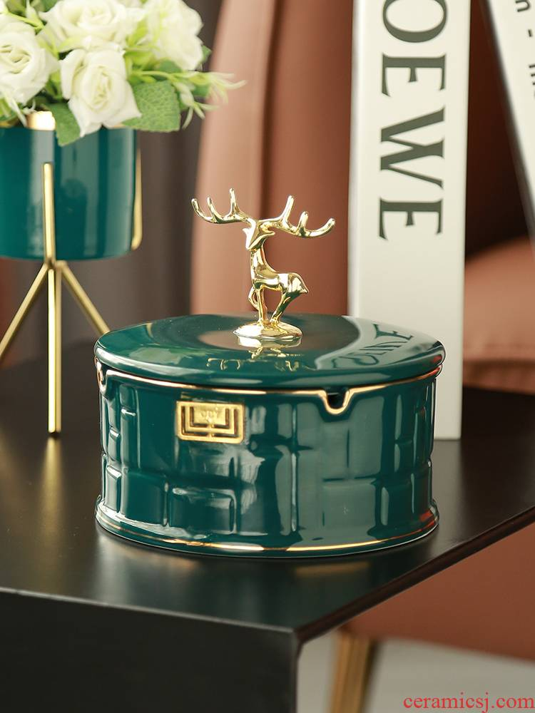 Ceramic ashtray move trend home sitting room with cover and fly ash Nordic light ins creative key-2 luxury key-2 luxury high - grade
