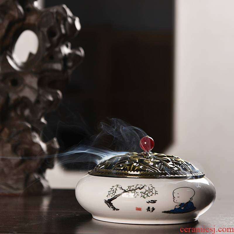 Hui shi mosquito incense buner domestic large fire aromatherapy furnace creative indoor Japanese ceramic ta with the cover plate of the pendulum