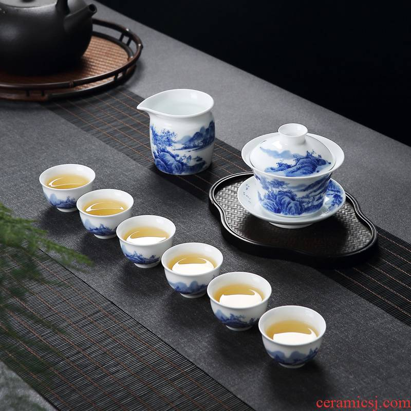Jingdezhen Chinese lid and exquisite porcelain bowl of tea tea cups hand - made porcelain of kung fu tea set home