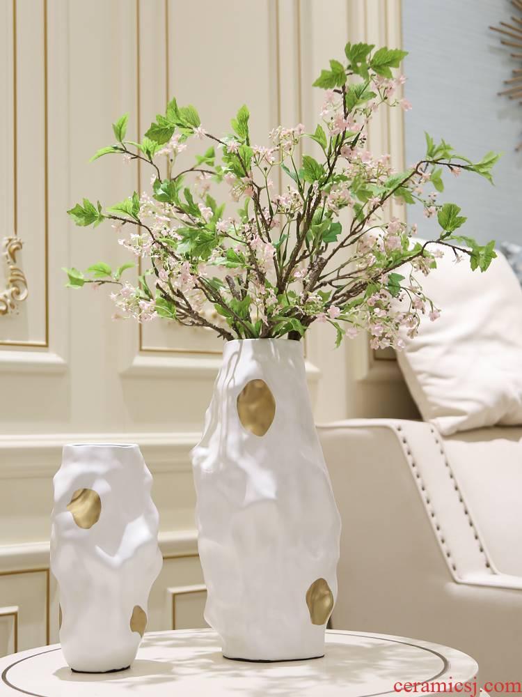 Light key-2 luxury European - style geometric fold ceramic vase furnishing articles Scandinavian simple example room sitting room ceramics soft decoration