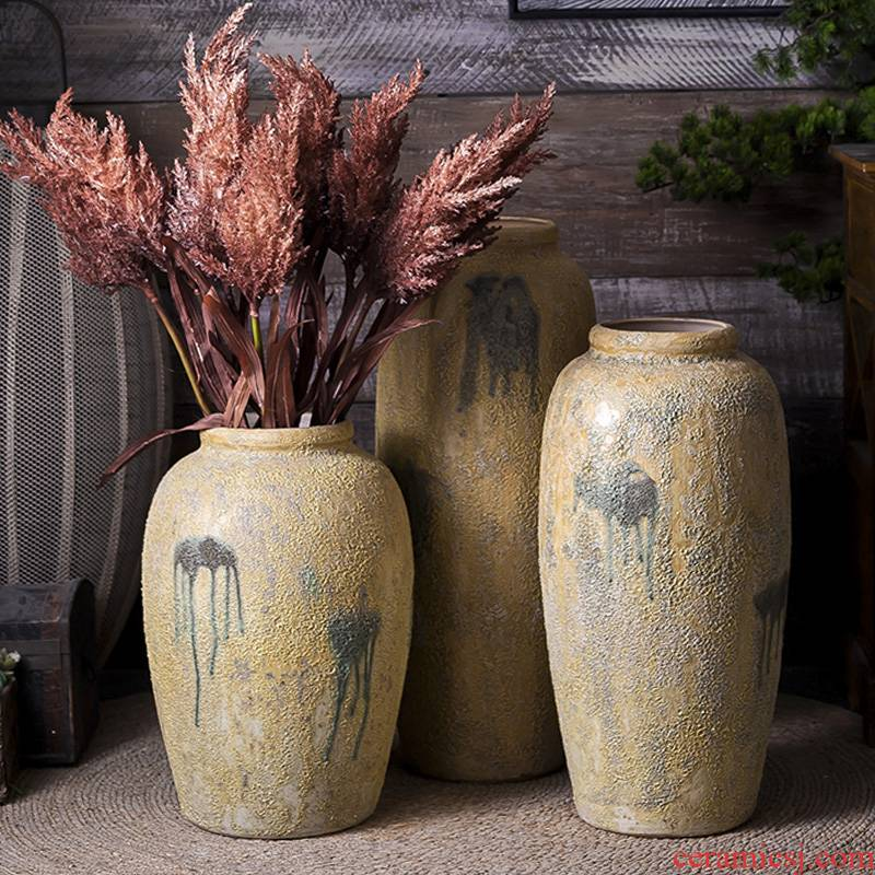 Retro teahouse zen manual coarse TaoHua implement creative clay pottery dry flower vase landing the jars of home stay facility