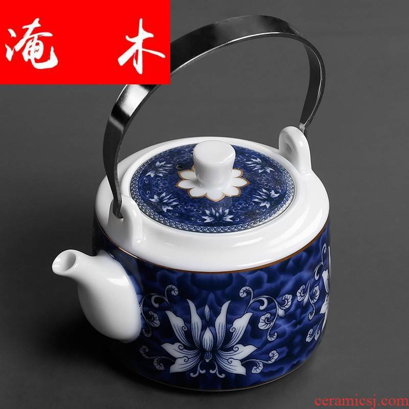 Flooded wood jingdezhen porcelain ceramic teapot high - volume large - sized cold water girder of blue and white porcelain teapot household mercifully