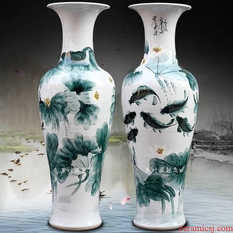 Jingdezhen ceramic ink color blue and white fish home sitting room hand - made lotus lotus leaf landing big vase decoration furnishing articles