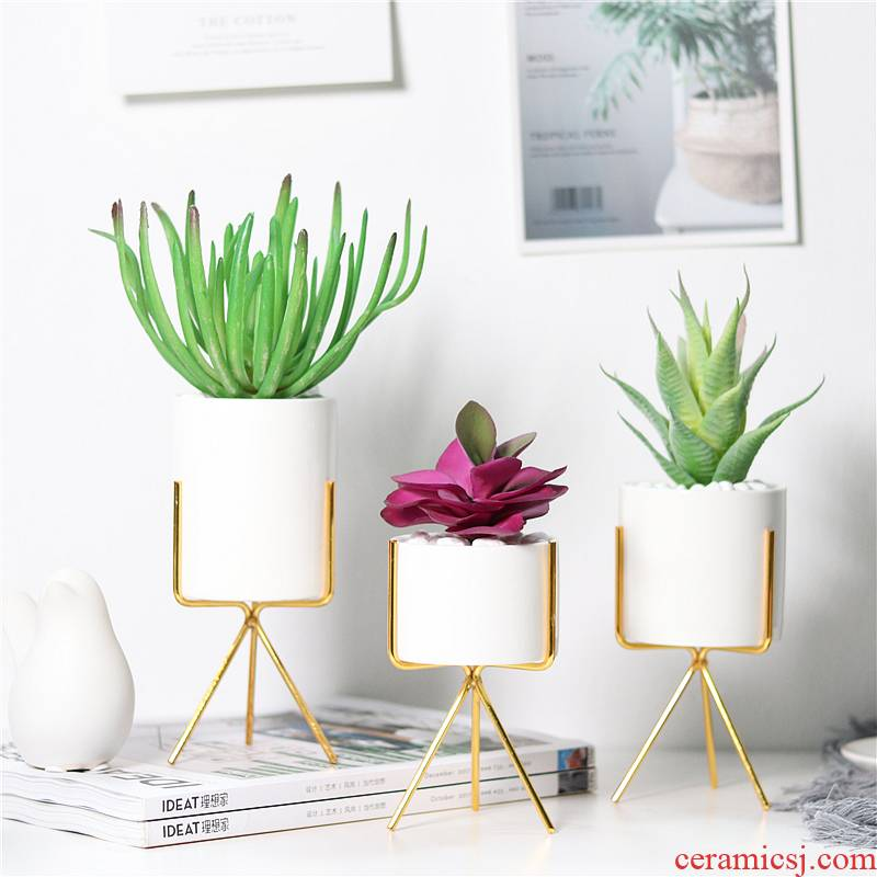 Simulation of potted the plants home sitting room interior decoration, artificial flowers and fleshy, green plant ceramic small place aloe bonsai