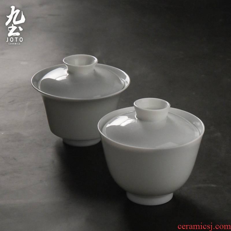 About Nine soil checking ceramic tureen jade porcelain white tureen thin foetus tureen tea cups porcelain kung fu tea set three tea tureen