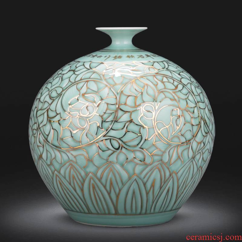 The Master of jingdezhen ceramics hand - made light relief paint vases, new Chinese style key-2 luxury home sitting room adornment is placed