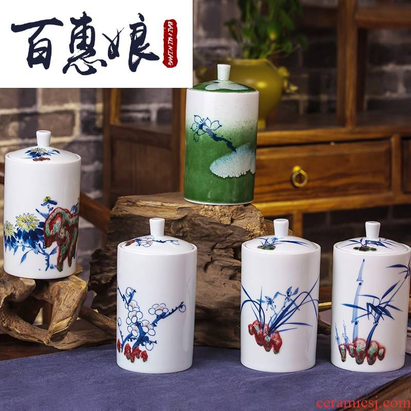 (niang jingdezhen blue and white porcelain hand - made in a drum youligong wake receives puer tea cake tea caddy fixings