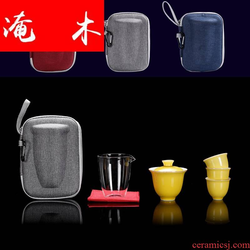 Flooded wooden is suing'll of a complete set of ceramic tureen kung fu tea sets crack cup portable car travel