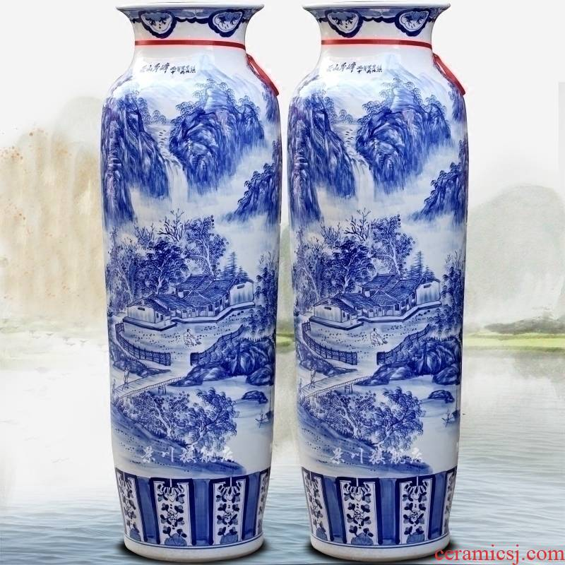 Jingdezhen ceramics hand - made of blue and white landscape of large vase quiver sitting room adornment is placed opening gifts