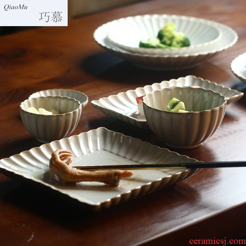Qiao mu creative by dish variable glaze ceramic tableware home dishes dish flavor dish of western - style food dish coffee cups of rice bowls