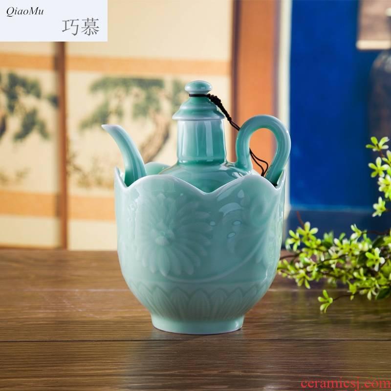 Qiao MuQing glaze wine set temperature wine pot hot wine warm white and yellow glass jar of jingdezhen ceramics