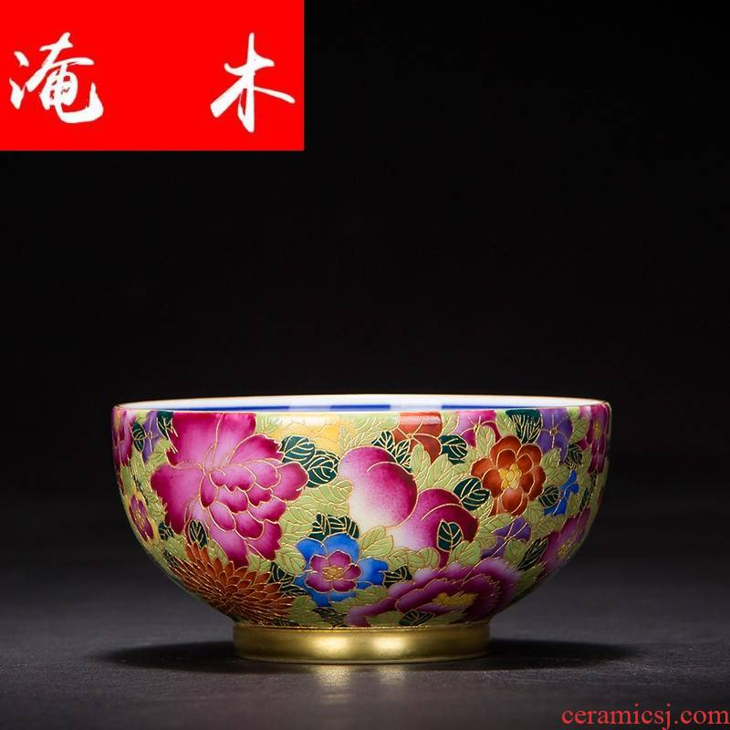 Submerged wood master of jingdezhen ceramic cup cup single CPU wire inlay enamel see colour flower cups kung fu tea tea cup