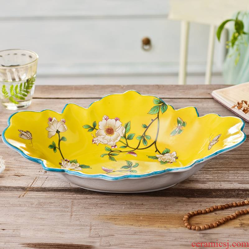 American household compote creative sitting room tea table large fruit bowl suit I and contracted ceramic European fruit bowl