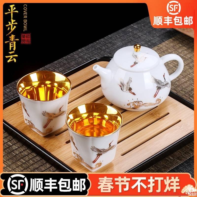 Artisan fairy gold cup to crack a pot of two cups of pure manual household ceramics kung fu tea tea tea set