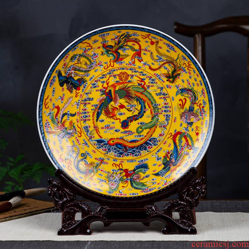 Jingdezhen porcelain ceramic decoration plate large figure Chinese style household furnishing articles about nine chicken sitting room porch swing plate plate