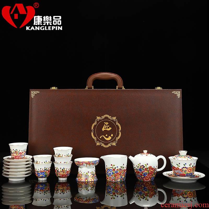Recreational product riches and honor peony tureen tea set yourself see colour edge teapot jingdezhen enamel household kung fu tea set