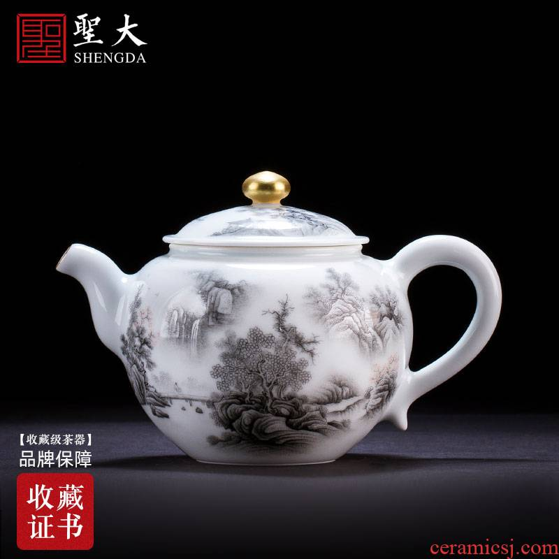 Holy big ceramic kung fu tea pot hand - made color ink lake mountain beautiful sceneries teapot single pot of pure manual of jingdezhen tea service