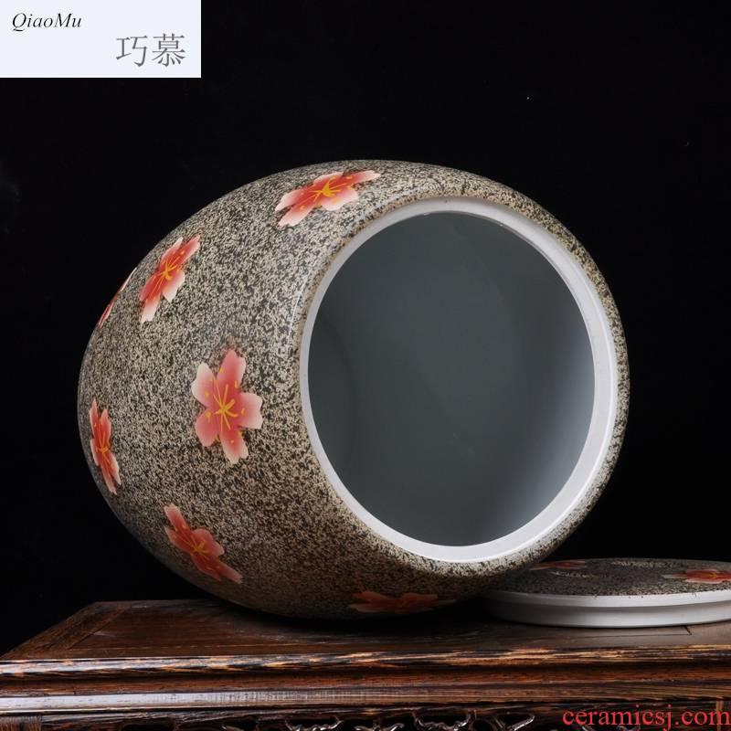 Qiao mu jingdezhen ceramic ricer box barrel 50 pounds with cover tank tea cake storage tank flour cylinder cylinder pickles cylinder