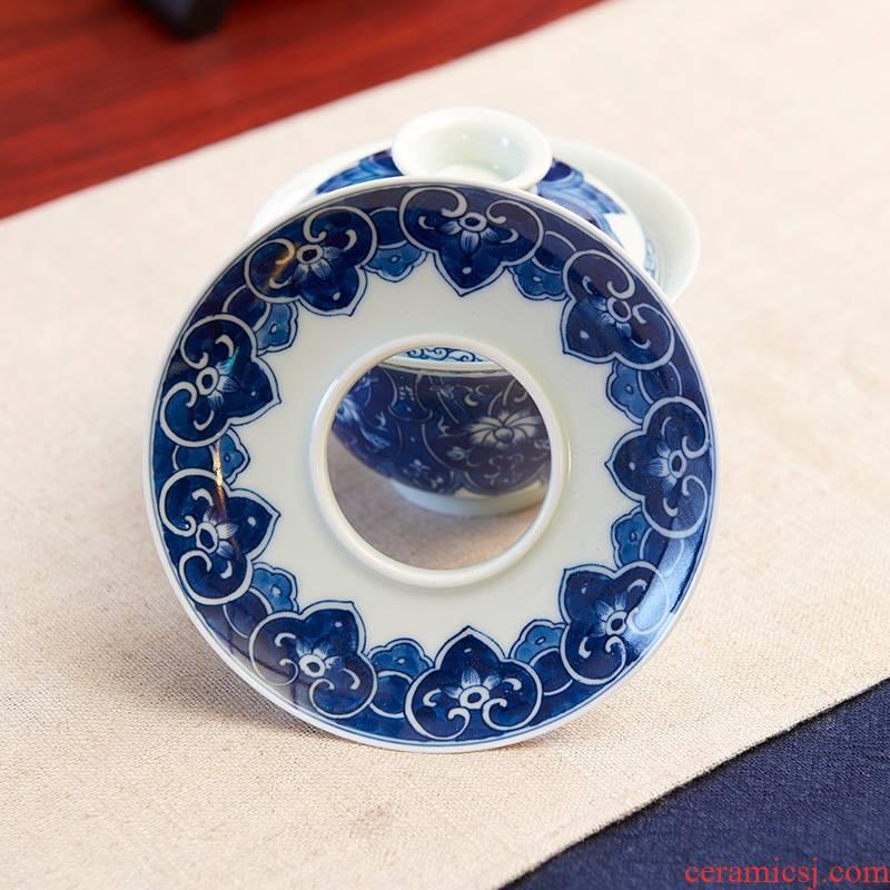 Qiao mu ceramic tea set household jingdezhen hand - made kung fu tea set 5 times under the glaze color Chinese porcelain