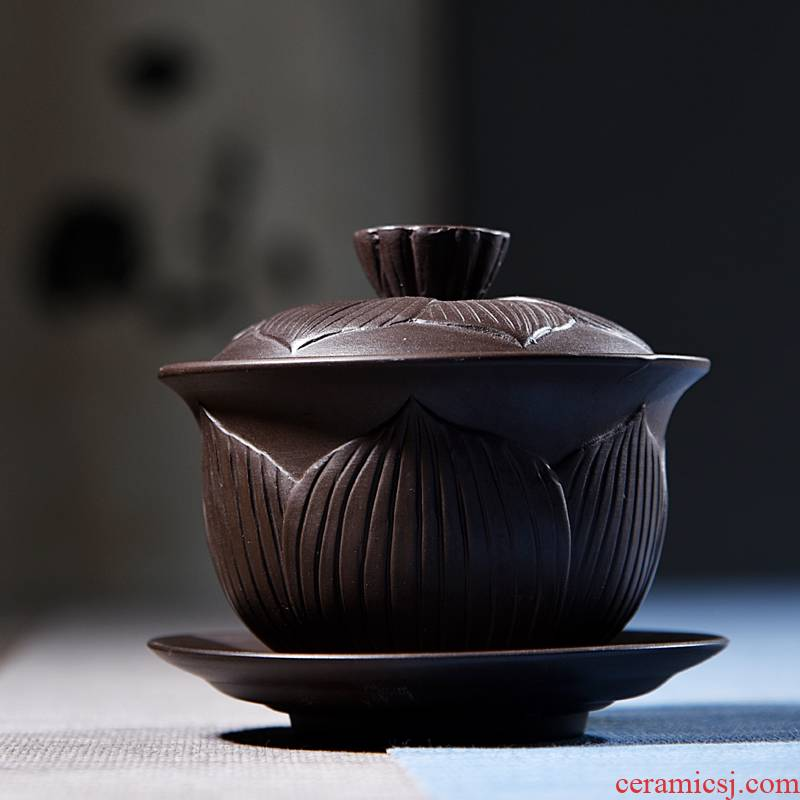 Hui shi tea undressed ore only three tureen kung fu tea set purple large purple sand yixing teapot teacup by hand