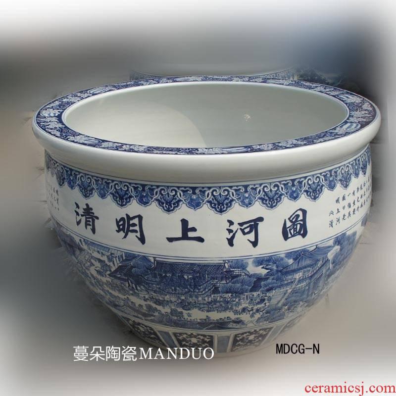 Jingdezhen hand - made eighty - seven as han xizai evening banquet qingming scroll king porcelain crock
