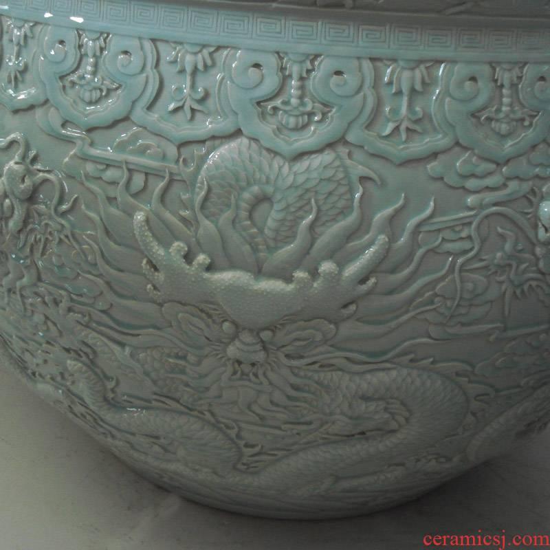Manual its shadow blue anaglyph dragon VAT single glaze porcelain hotel elegant furnishings VAT vats