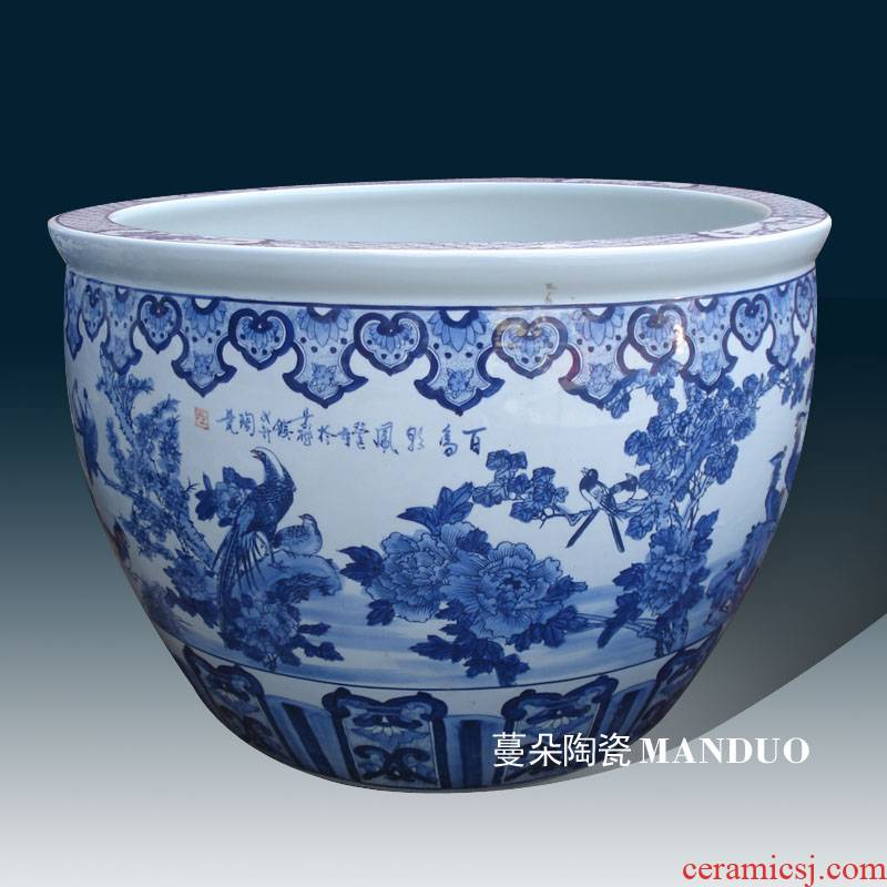 Jingdezhen q blue 80-90 - cm large diameter cylinder flower painting of flowers and birds pay homage to the king of China big courtyard cylinder