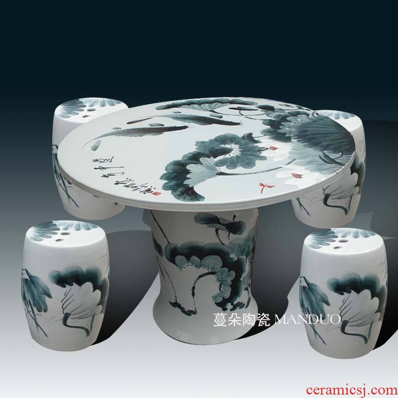 Jingdezhen hand - made lotus large balcony garden porcelain porcelain table large table rust waterproof sunscreen