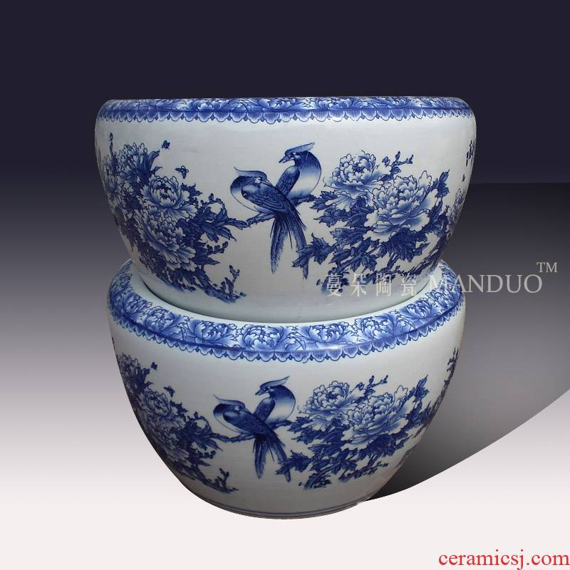 Jingdezhen blue and white peony flower porcelain VAT blue and white peony beautiful antique calligraphy and painting porcelain cylinder