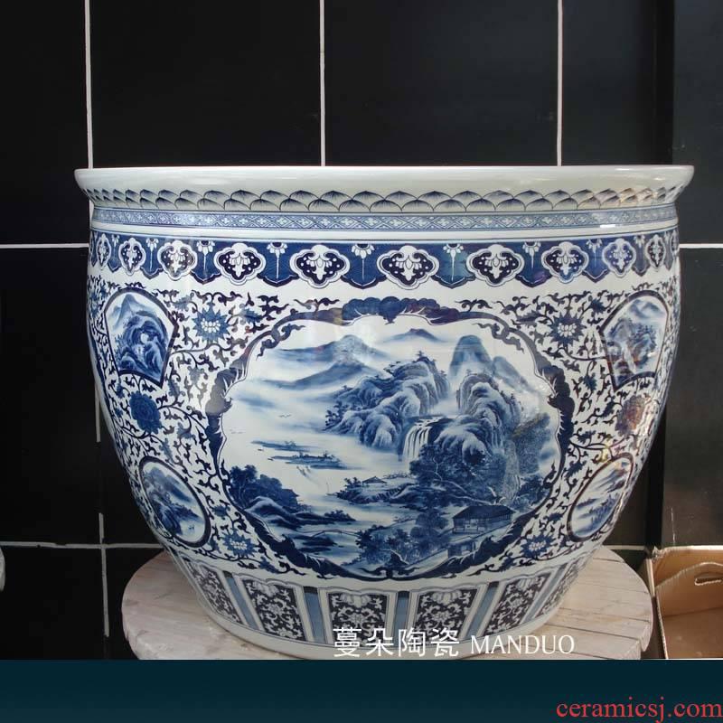 Jingdezhen blue and white dress picture landscape hand - made porcelain VAT elegant furnishings and caliber 95 cm is big