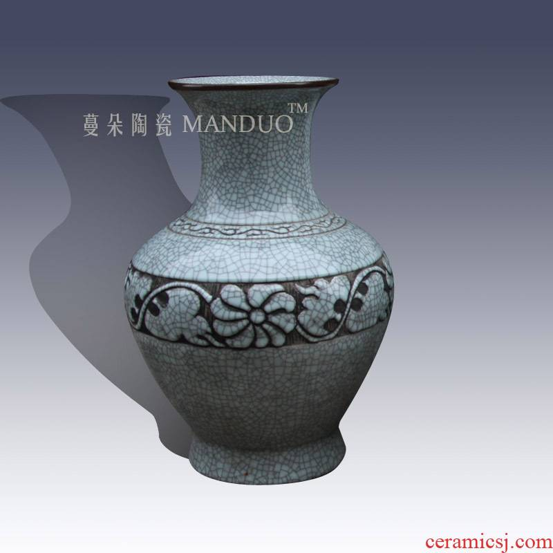 Jingdezhen culture classic adornment mesa crack glaze vase vase high - grade annatto furniture decoration