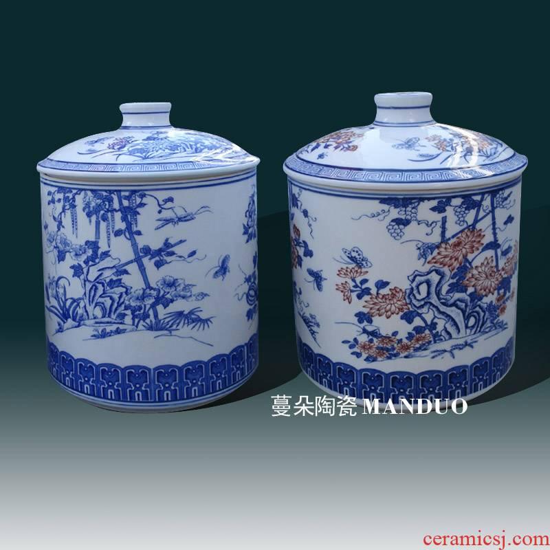 Jingdezhen porcelain straight cover environmental ceramic porcelain pot 30 cm high ceramic porcelain storage tank
