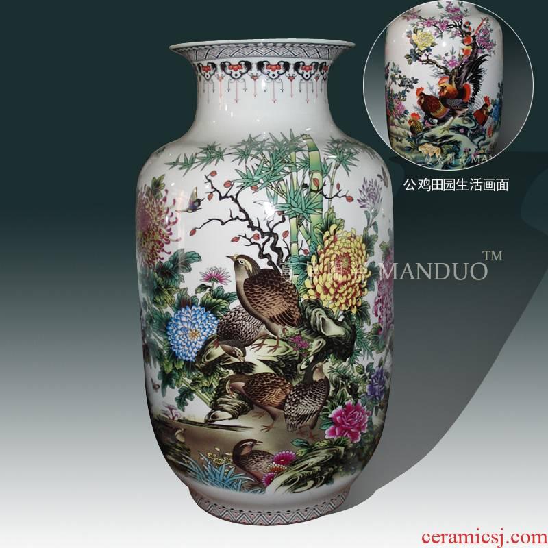 Jingdezhen golden pheasant by picture frame decorative porcelain vase life rooster mesa porcelain vase