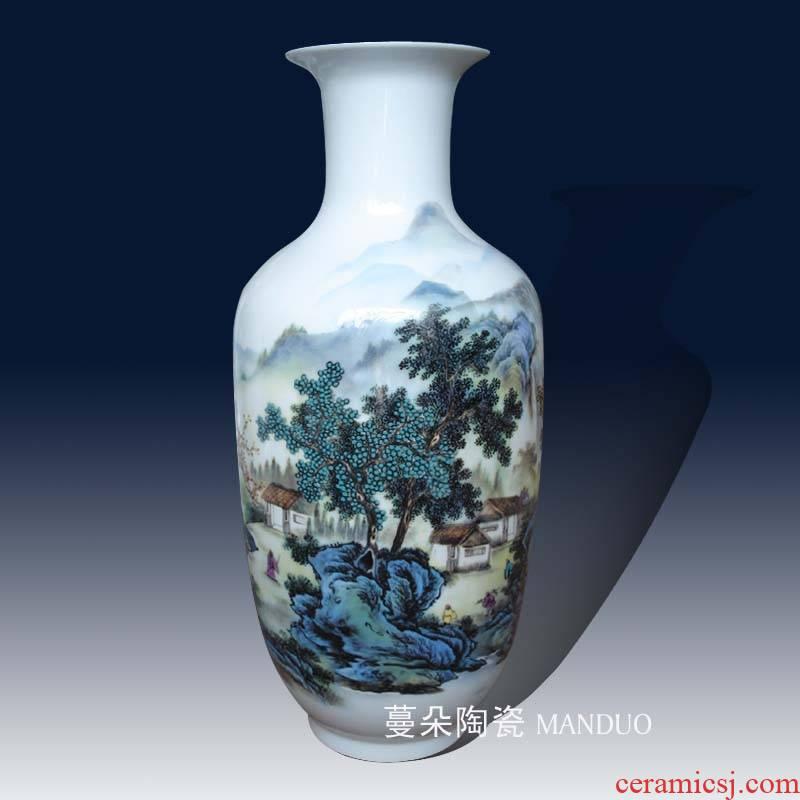Jingdezhen landscape artistic conception porcelain decorative vase 46 cm high jiangnan scenery elegant decorative vase vase