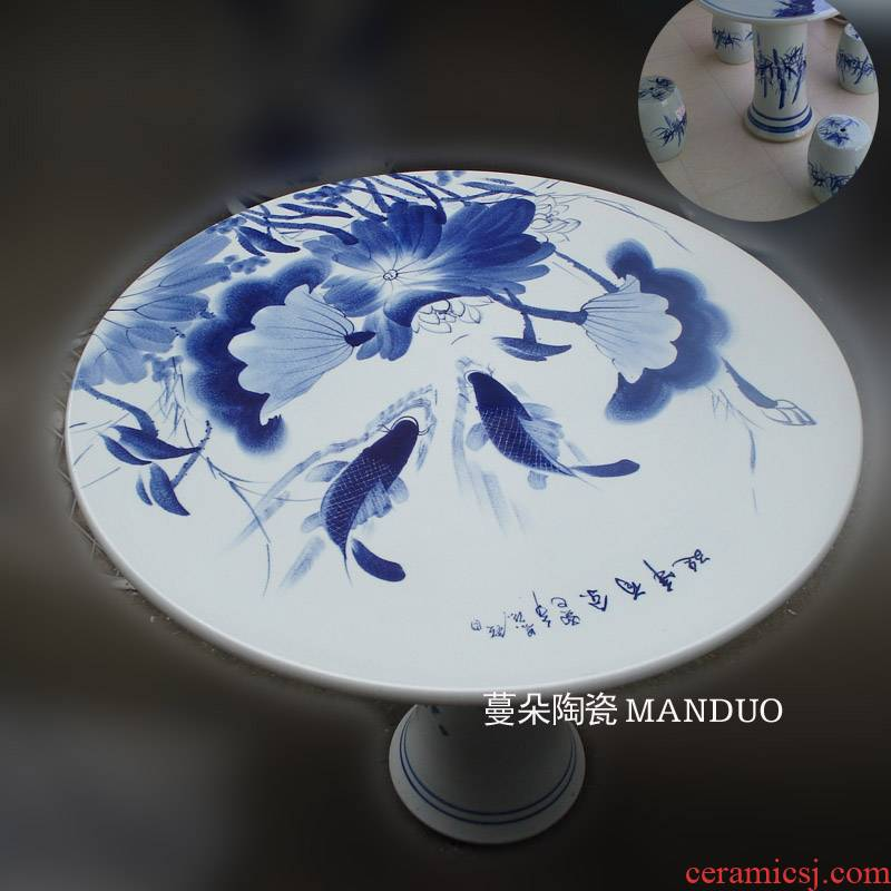 Jingdezhen blue and white lotus carp hand - made porcelain porcelain table of quietly elegant of blue and white porcelain porcelain table set high strength is firm