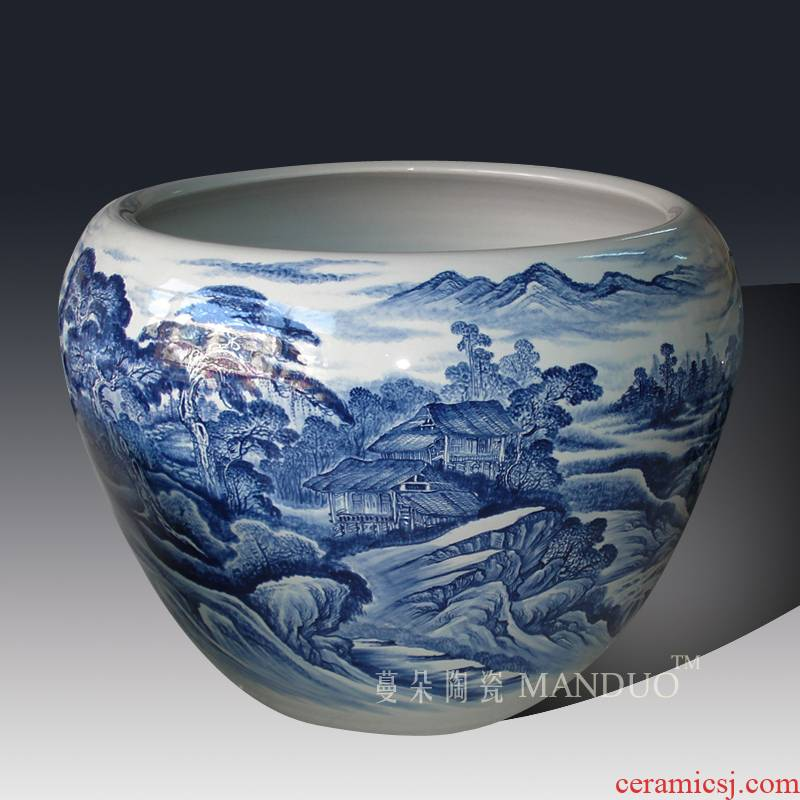 The Diameter of about 1 meter to heavy vats VAT jingdezhen blue and white porcelain king fish farming water lily is big