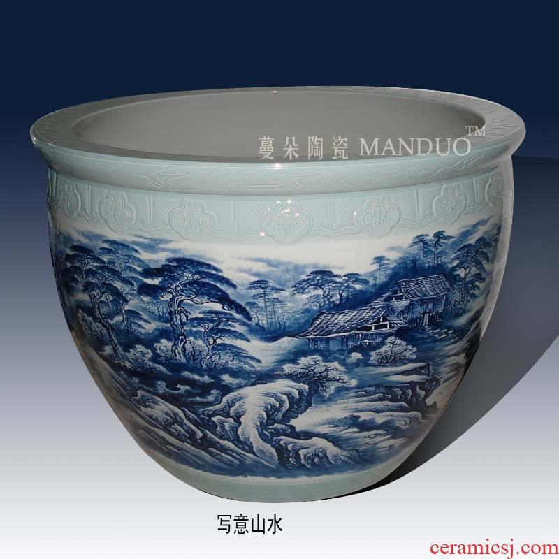 Jingdezhen hand - made scenery porcelain big cylinder 80-200 - cm diameter cylinder customized porcelain king day tank