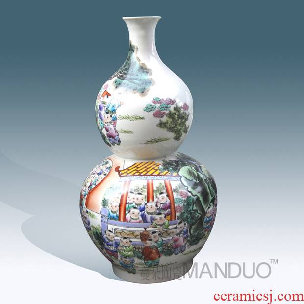 Jingdezhen hand - made enamel vase sitting room adornment that occupy the home furnishing articles high - grade figure vase vase hoist the ancient philosophers