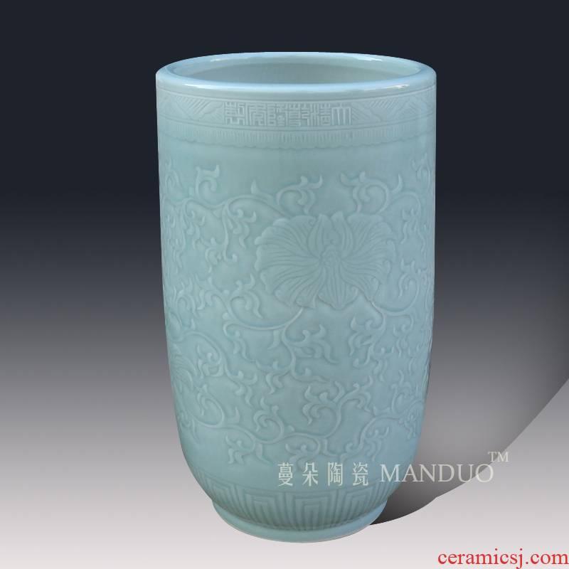Even light elegant tangles branches quiver straight ceramic vase anaglyph carved quiver vase vase celadon