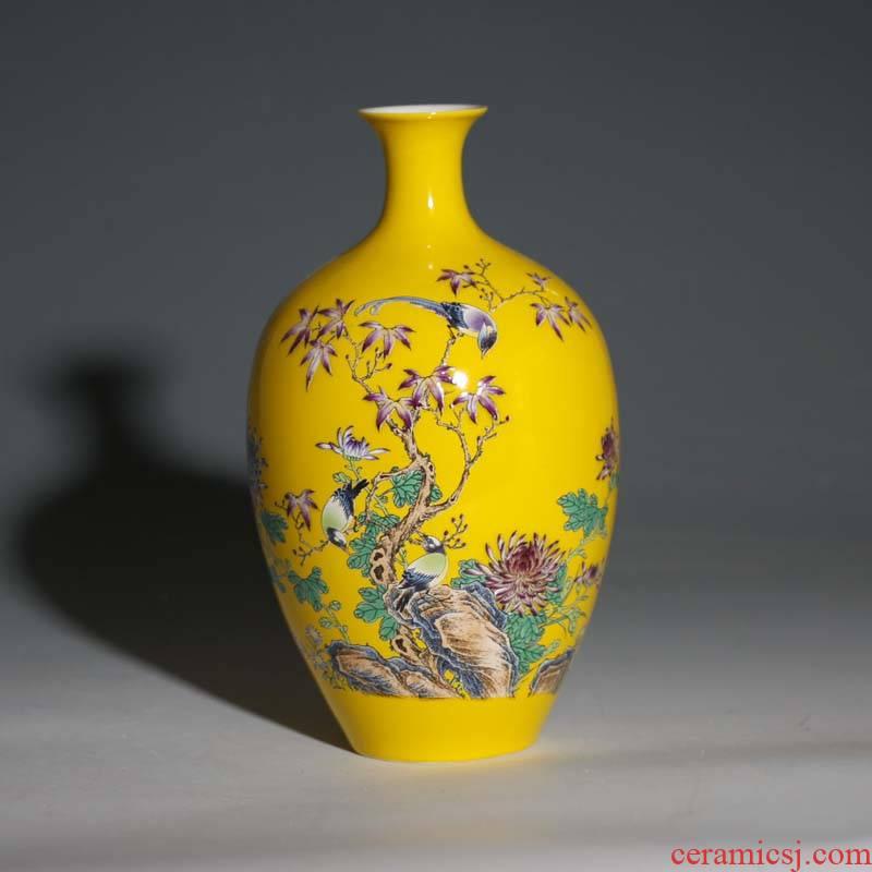 Jingdezhen in yellow elegant high - grade porcelain vase delicate floret bottle display rich ancient frame porcelain vase