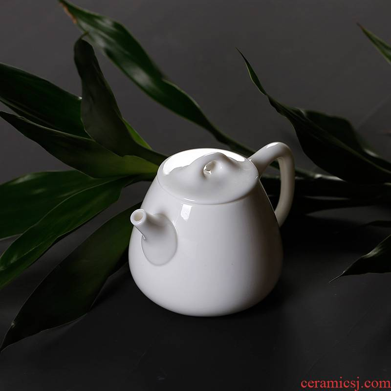High dehua white porcelain ceramic teapot a single small manual single pot of mini household kung fu tea set suet jade porcelain